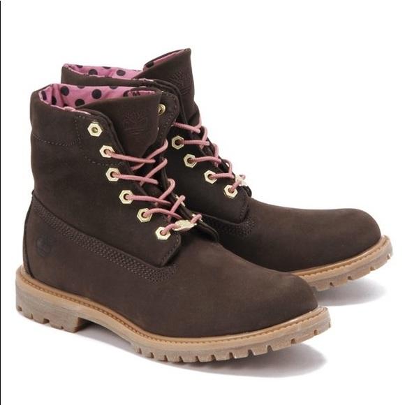 Timberland Shoes - Woman's Brown Polka Dot Timberlands